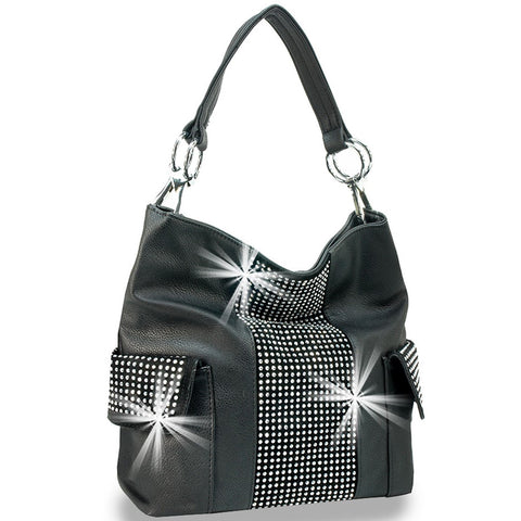 Front view black handbag with faux side pockets and center panel bling