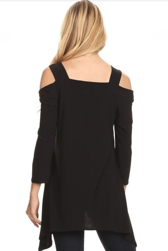 Back view woman wearing black cold shoulder shark bite hem tunic top