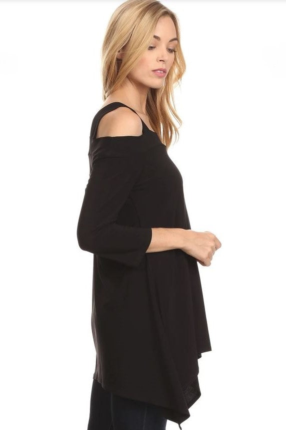 Right side view woman wearing black cold shoulder shark bite hem tunic top
