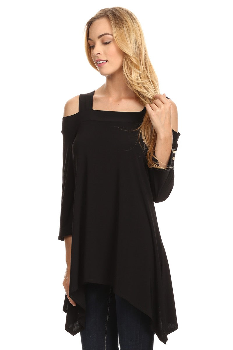 Front view woman wearing black cold shoulder shark bite hem tunic top