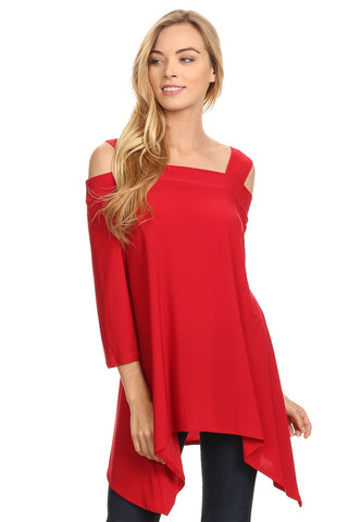 Front view woman wearing red cold shoulder shark bite hem tunic top