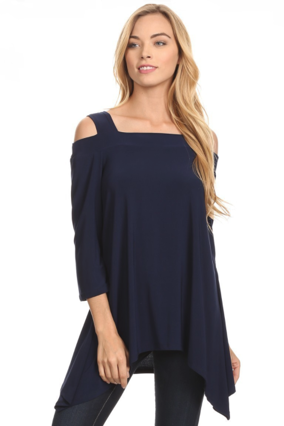 Front view woman wearing navy colored cold shoulder shark bite hem tunic top