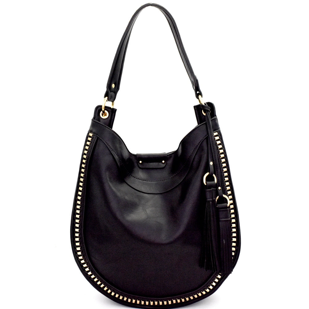 Front view black rounded hobo handbag with two tassels on left side