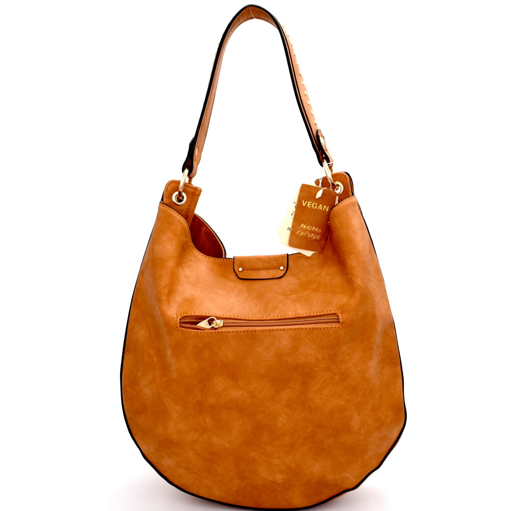 back view tan rounded hobo handbag with exterior zip pocket
