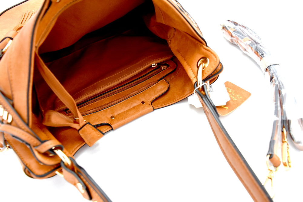 Inside view tan rounded hobo handbag with adjustable strap