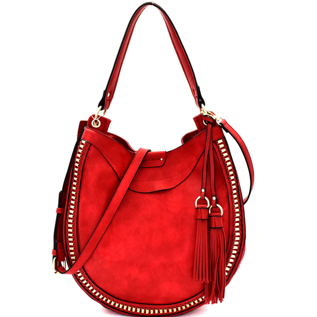 Front view red rounded hobo handbag with two tassels on left side