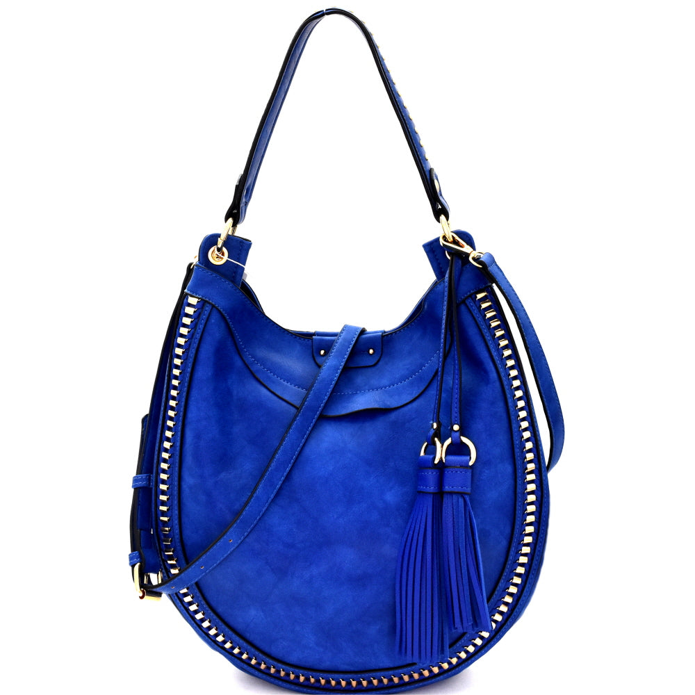 Front view blue rounded hobo handbag with two tassels on left side