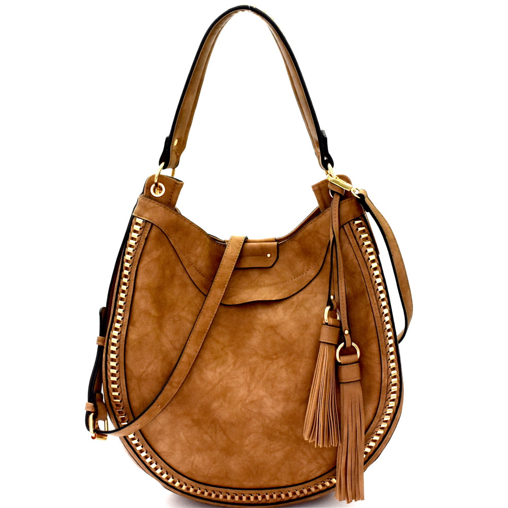 Front view stone rounded hobo handbag with two tassels on left side