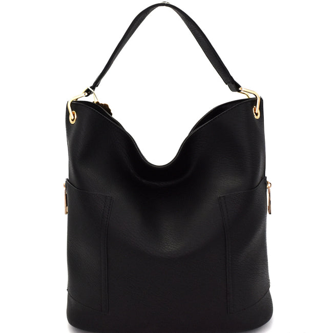 Front view black tall hobo handbag with side zip pockets