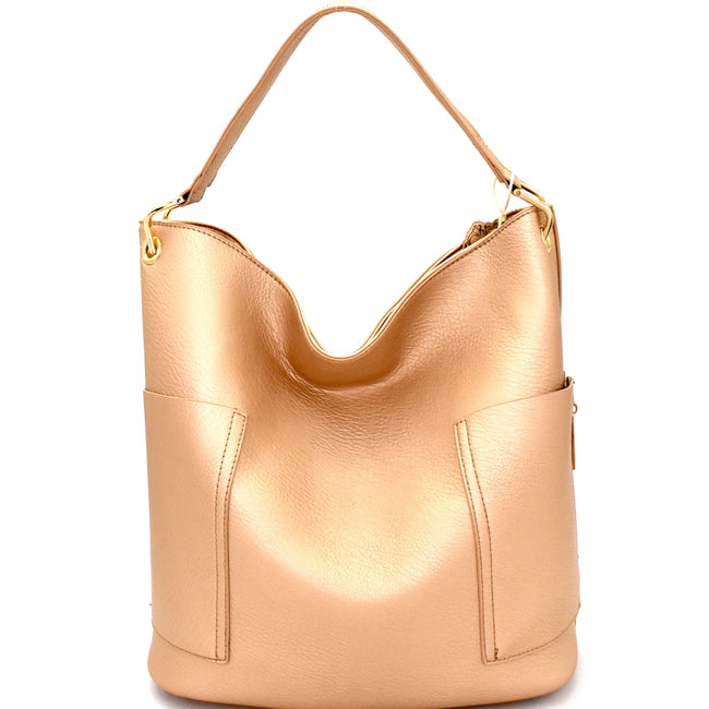 Front view rose gold tall hobo handbag with side zip pockets