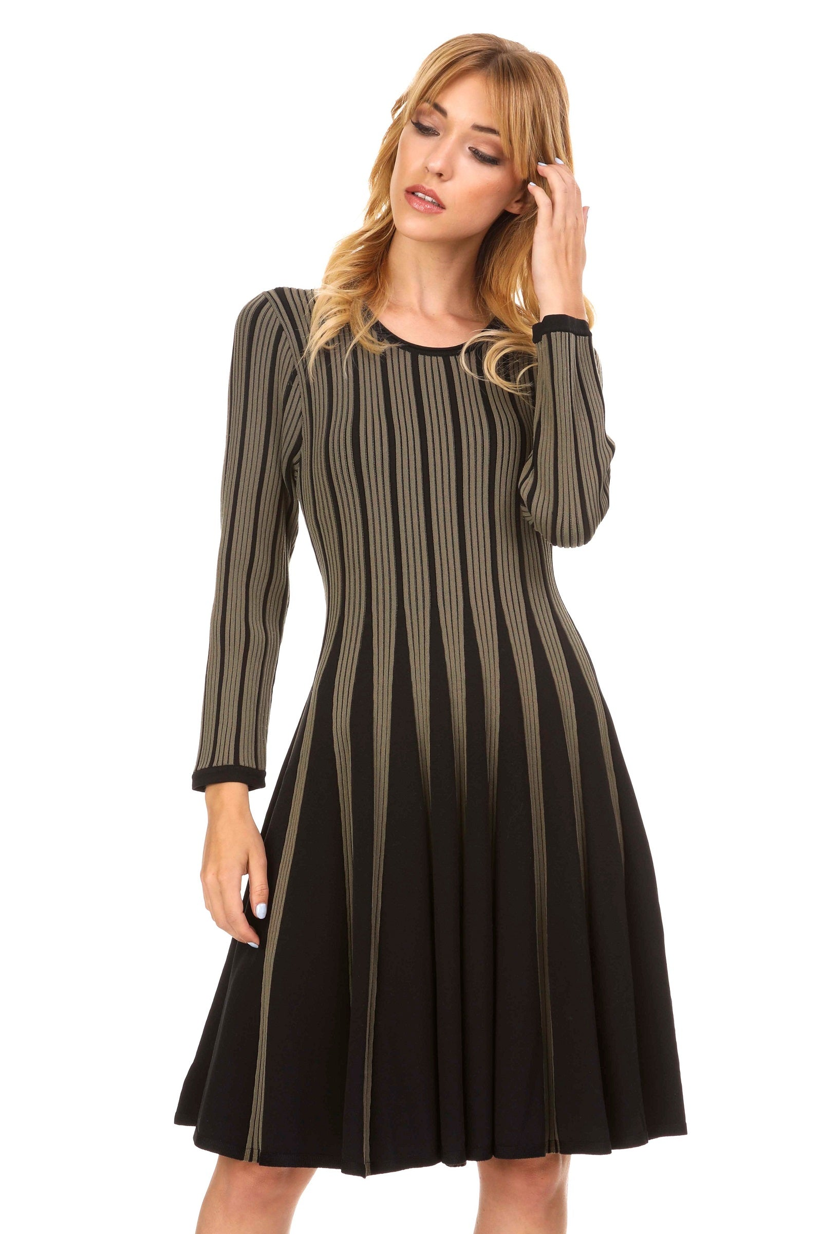 Contemporary Fit and Flare Knit Dress