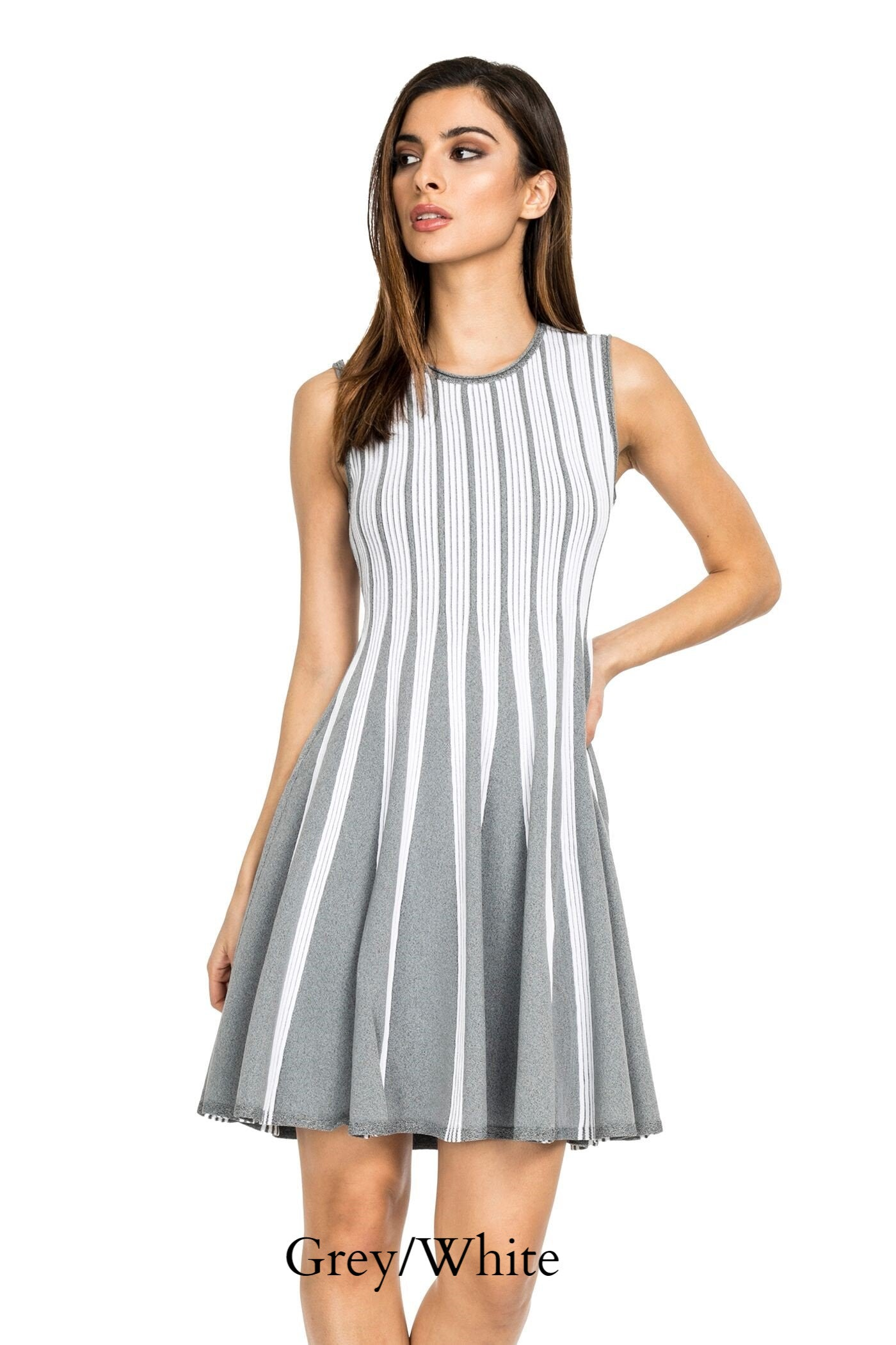 Woman wearing grey/white striped knit sleeveless fit-and-flare knee-length dress