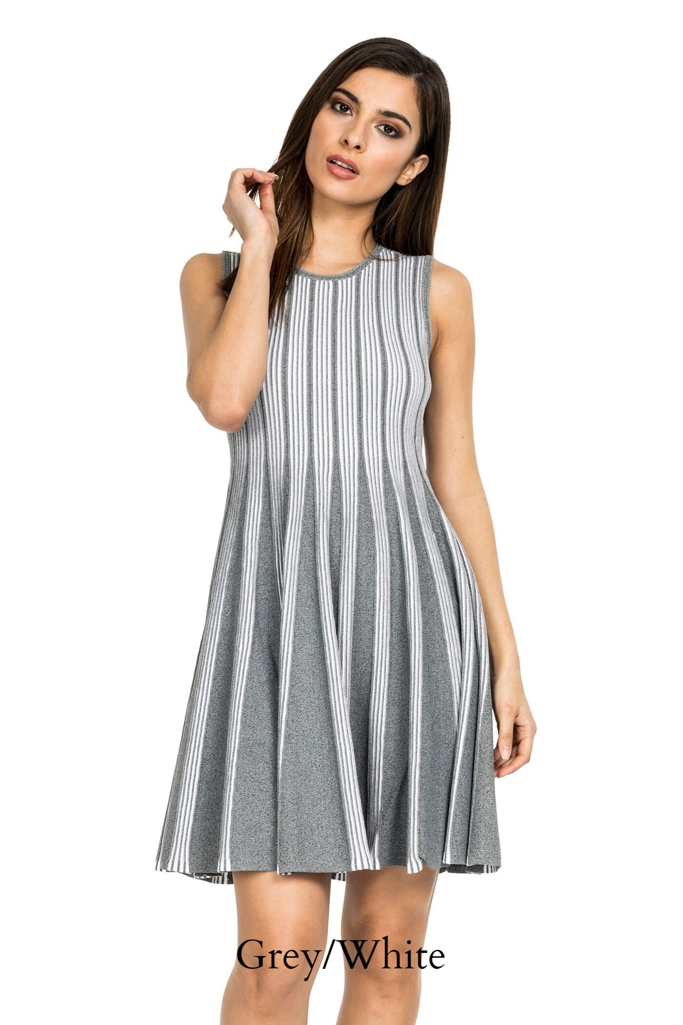 Front view woman wearing grey/white striped knit sleeveless fit-and-flare knee-length dress