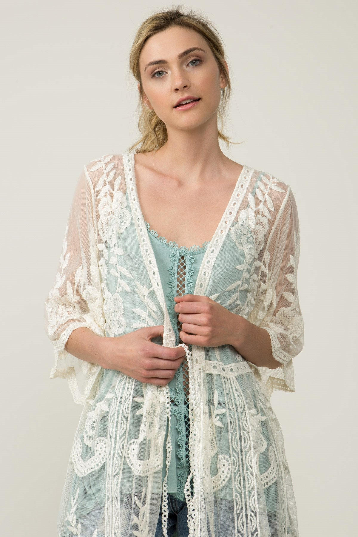 Front detail view sheer ivory empire waist embroidered cardigan