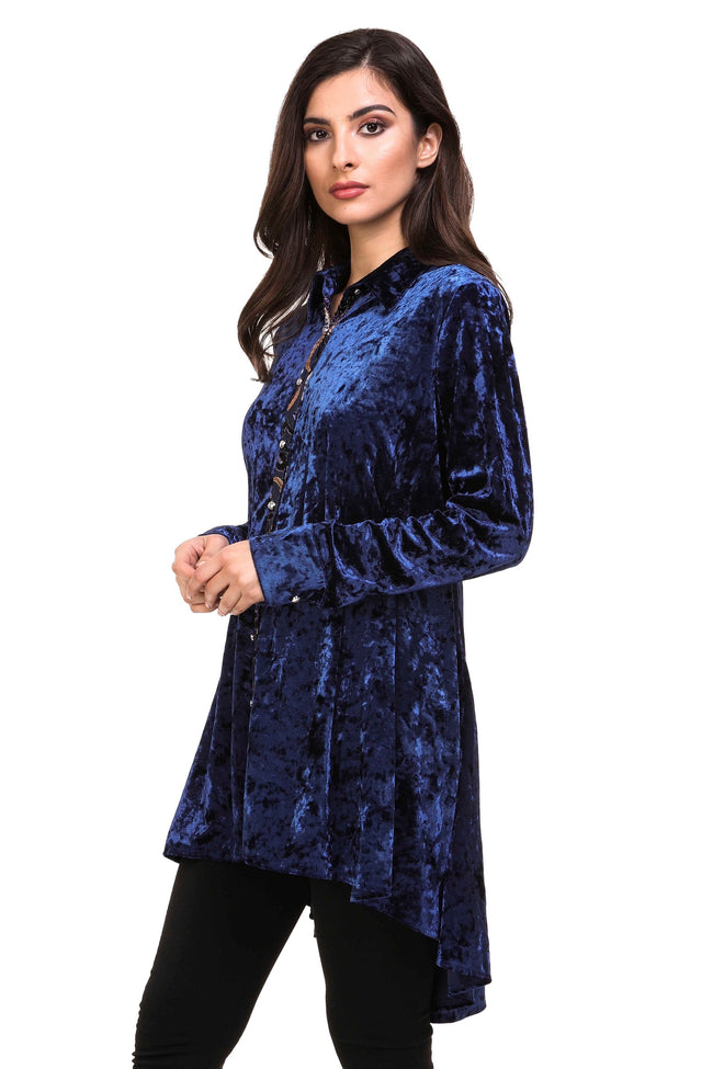 Front/side view navy burnout velvet high low button front tunic top