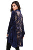 Back view navy burnout velvet high low button front tunic top