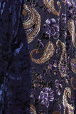 Detail view navy burnout velvet high low button front tunic top