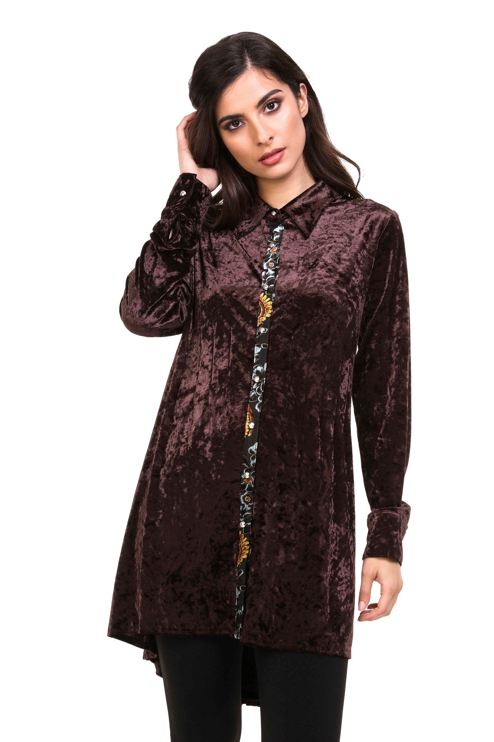 Front view cocoa burnout velvet high low button front tunic top