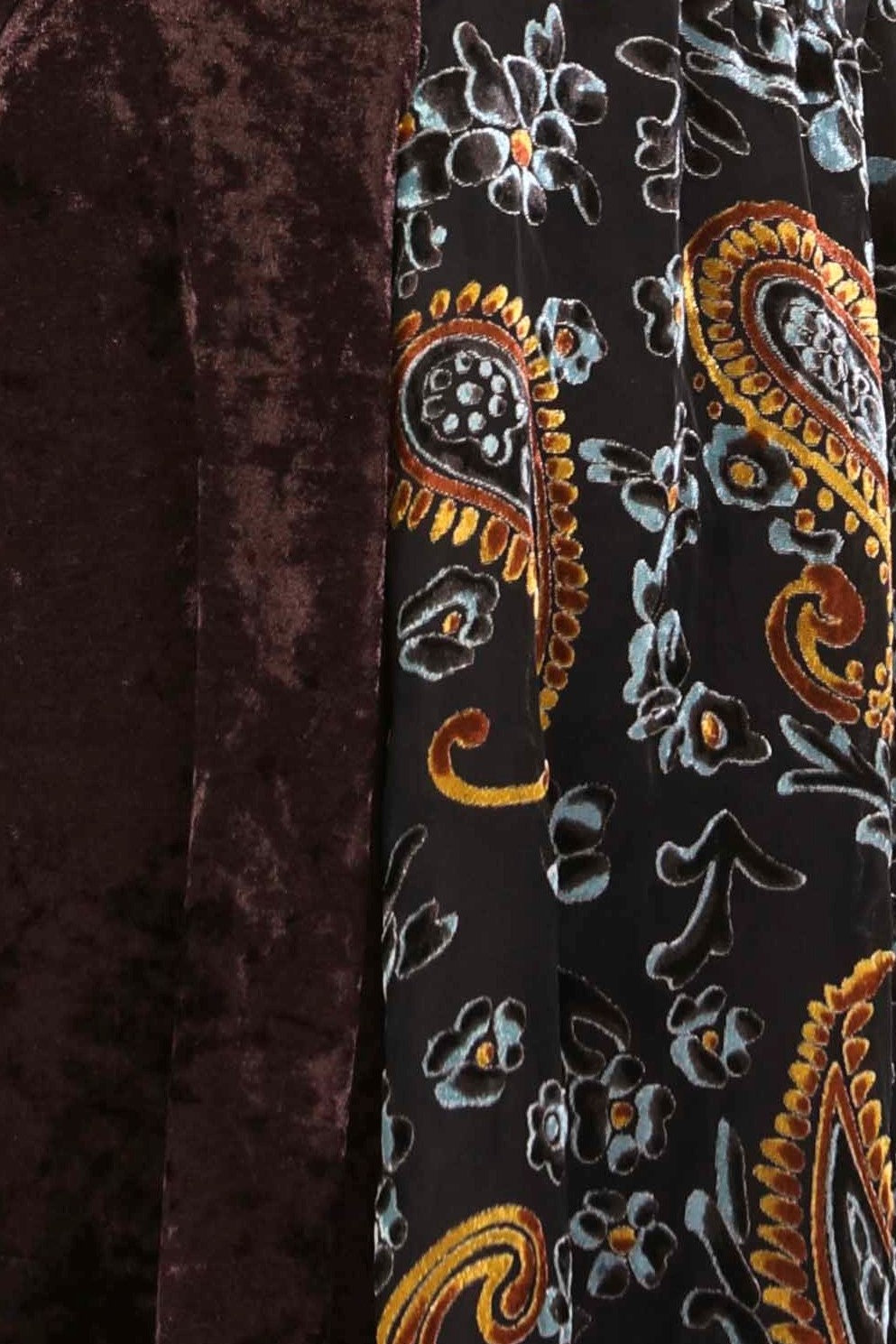 Detail view cocoa burnout velvet high low button front tunic top
