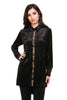 Front view black burnout velvet high low button front tunic top