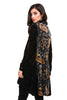 Back view black burnout velvet high low button front tunic top