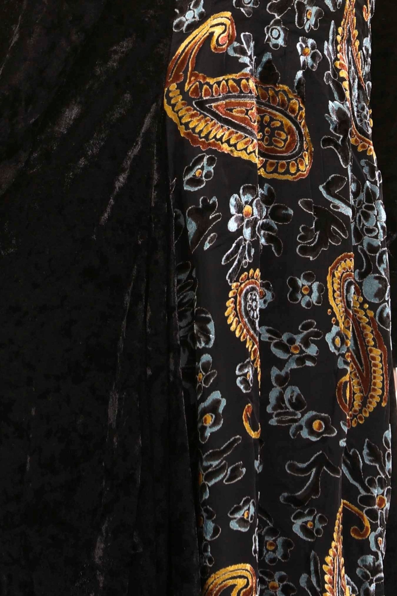 Detail view black burnout velvet high low button front tunic top
