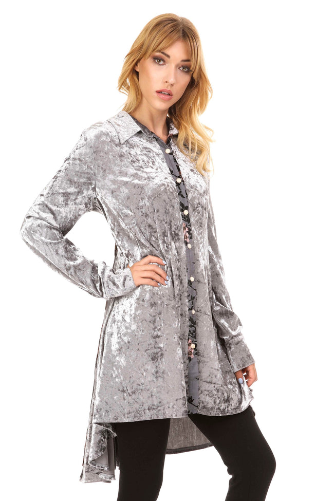 Front view silver velvet tunic with lined burnout velvet back panel