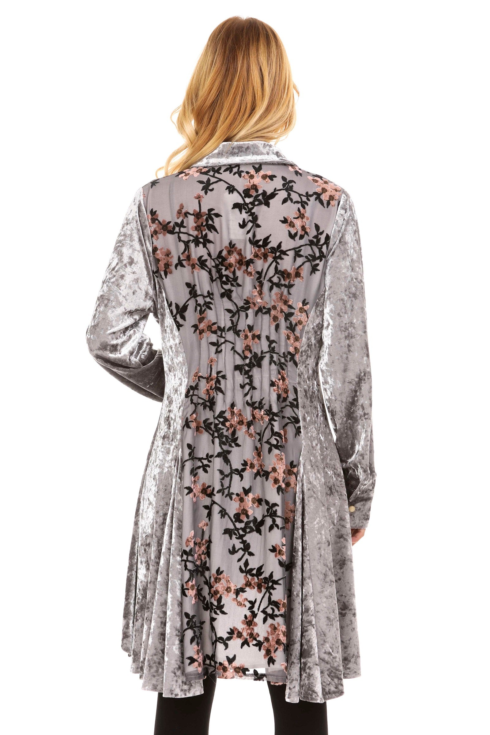 Back view silver velvet tunic with lined burnout velvet back panel