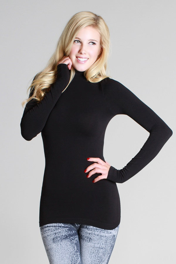 DENISE Seamless Long Sleeve Mock Neck Top - Vegastyleboutique.com  - 1