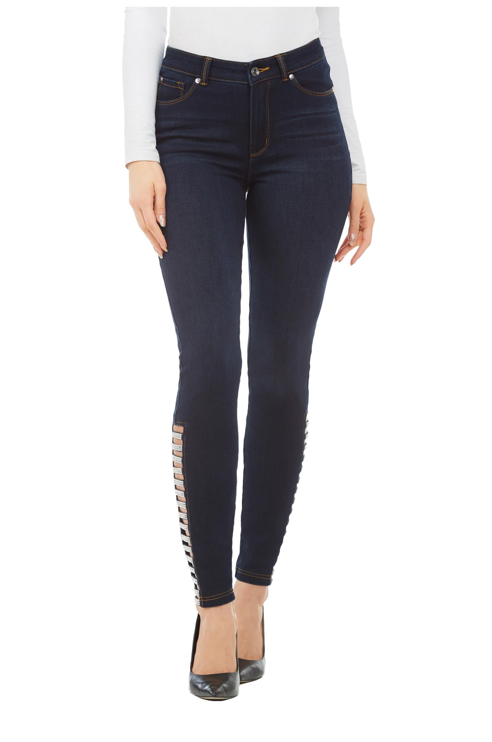 Front view woman wearing Peter Nygard denim skinny jeans with side rhinestone ladder at hemline