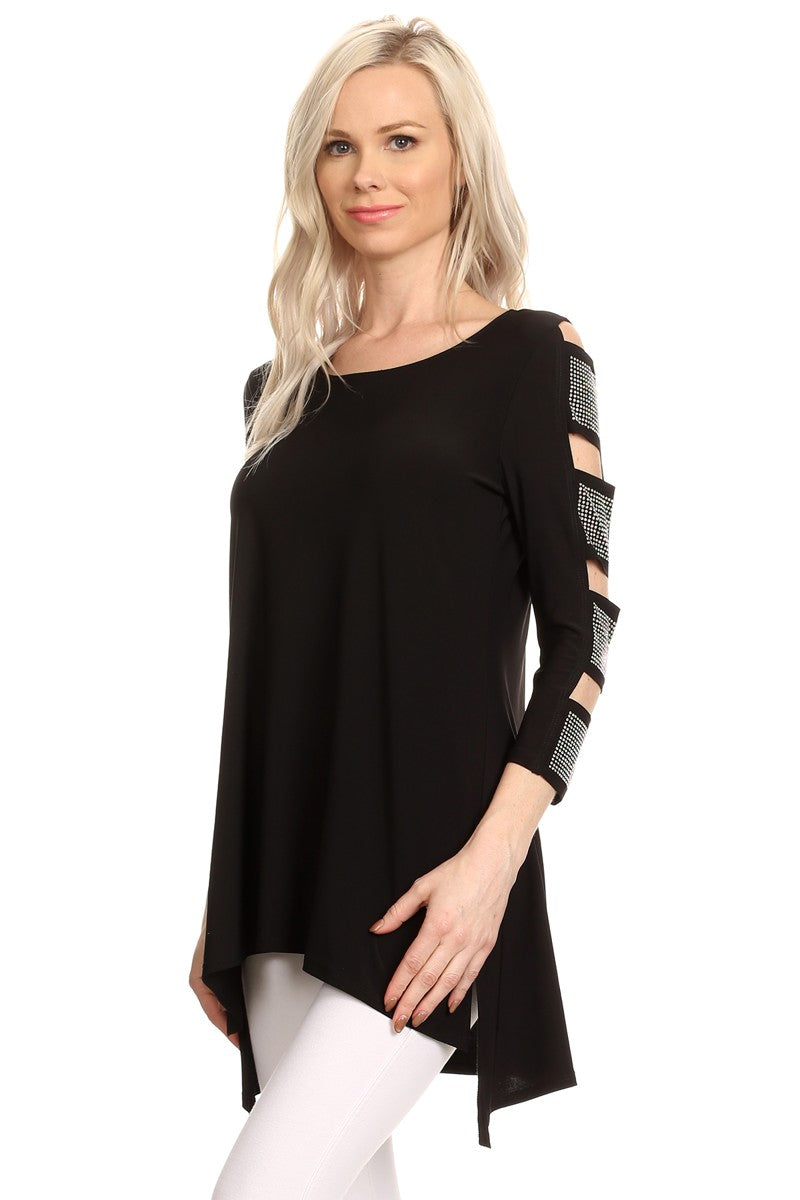 Front/side view woman wearing black 3/4 sleeve ladder sleeve tunic with rhinestone ladder