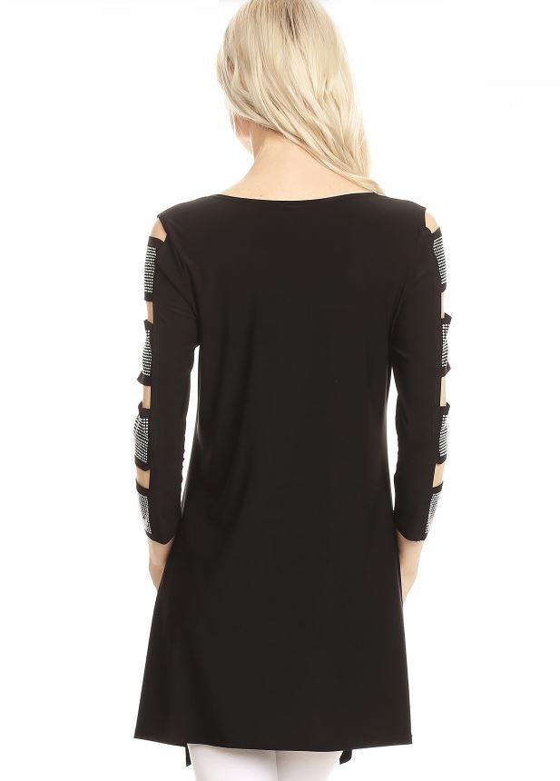 Back view woman wearing black 3/4 sleeve ladder sleeve tunic with rhinestone ladder