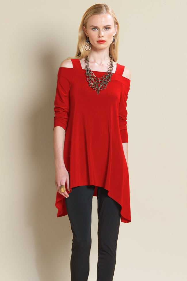 Contemporary Cold Shoulder Knit Tunic Top