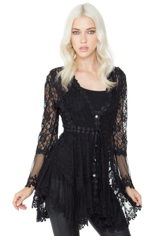 ANGELINA Stretch Lace Bell Sleeve Tunic Top