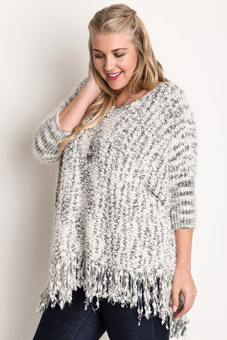 SHELBY Curvy Fringe Trim Sweater