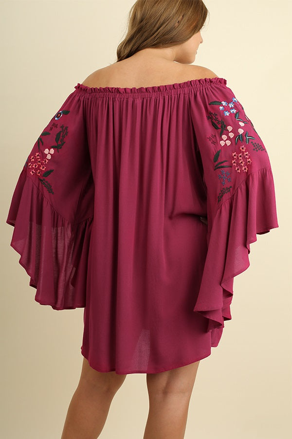 Back view plus size young woman wearing wine floral-embroidered bell sleeve dress