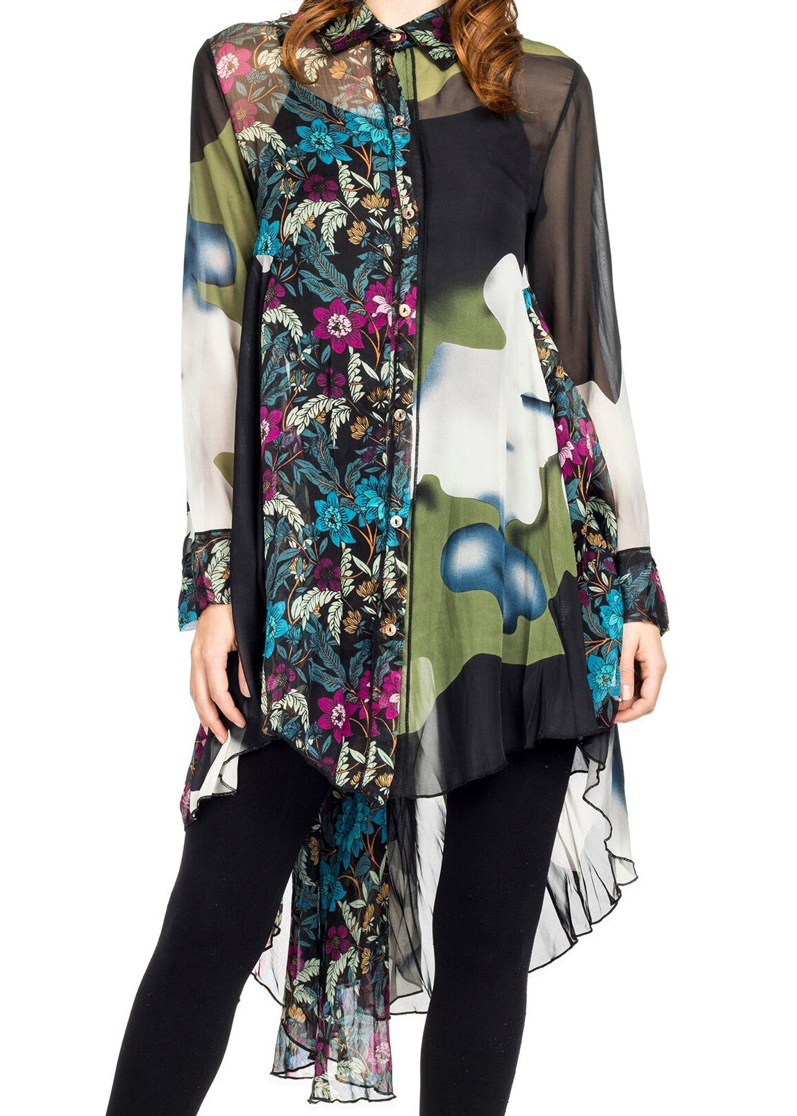 Front detail view woman wearing black multi mixed print high low tunic top
