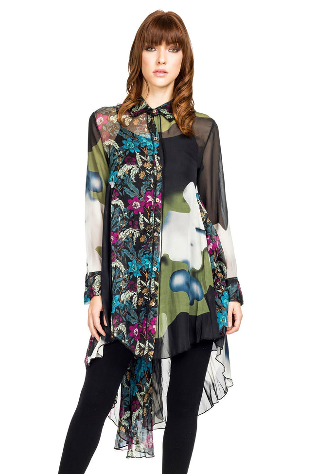 Front view woman wearing black multi mixed print high low tunic top