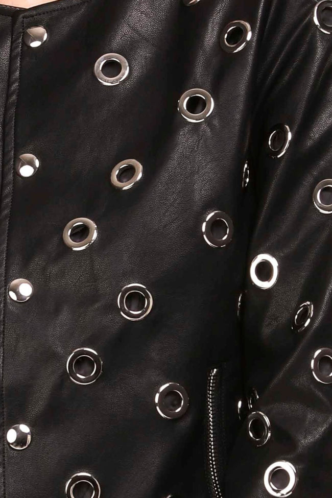 Detail view black vegan leather jacket with silver grommets