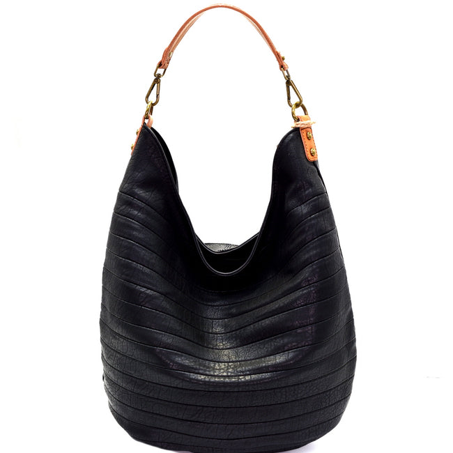 Front view black seamed vegan leather hobo handbag