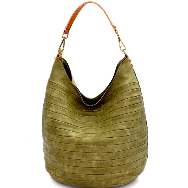 Front view olive seamed vegan leather hobo handbag
