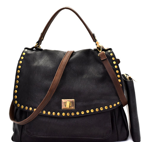 Front view black vegan leather foldover flap satchel with stud trim and turn lock closure