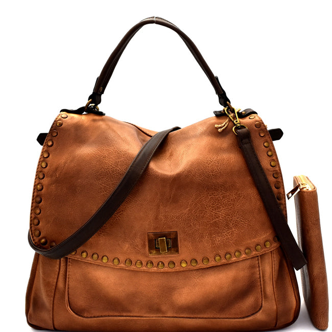 Front view mocha vegan leather foldover flap satchel with stud trim and turn lock closure