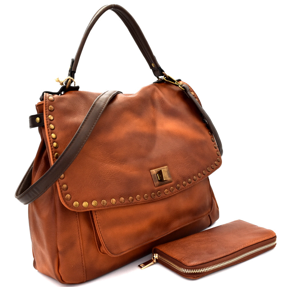 Side view brown vegan leather foldover flap satchel with stud trim and turn lock closure and wallet
