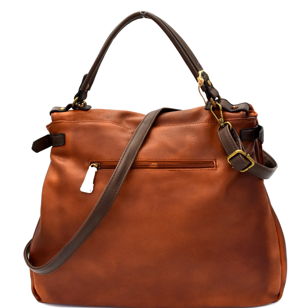 Back view brown vegan leather foldover flap satchel with stud trim and turn lock closure
