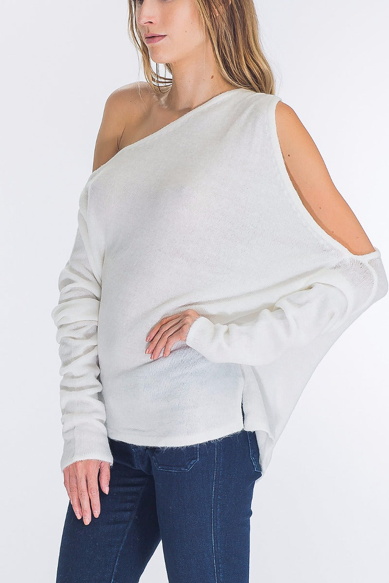 Side view ivory asymmetrical one-shoulder angora blend sweater - Vegastyleboutique.com