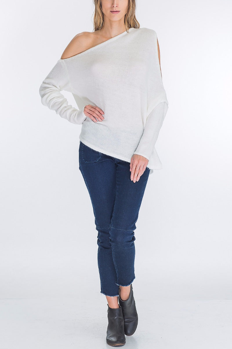 Full view ivory asymmetrical one-shoulder angora blend sweater - Vegastyleboutique.com