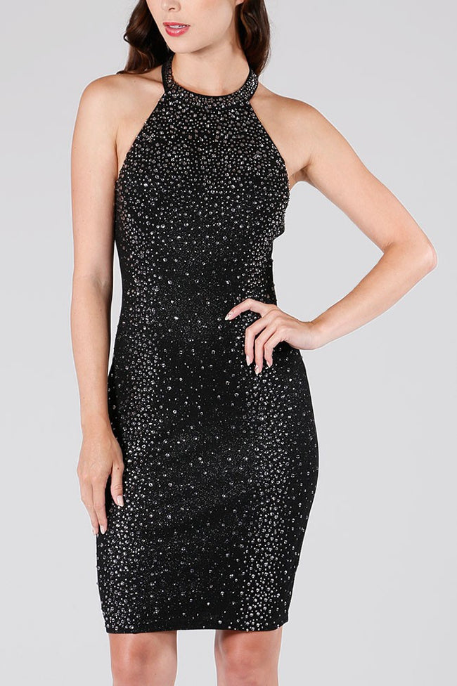 DINA High Neck Rhinestone Party Dress - Vegastyleboutique.com  - 1