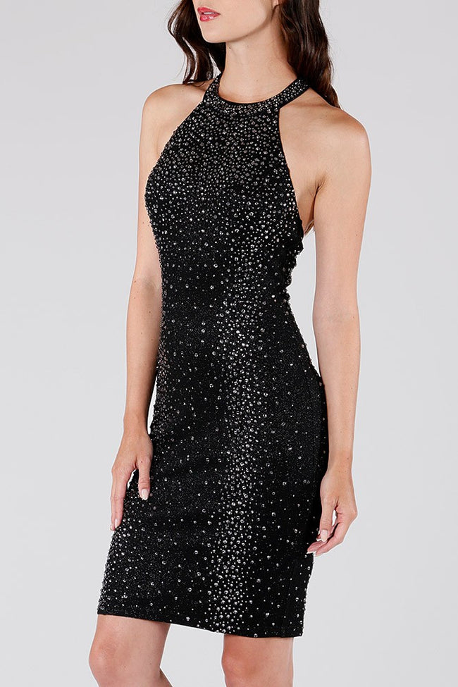 DINA High Neck Rhinestone Party Dress - Vegastyleboutique.com  - 2