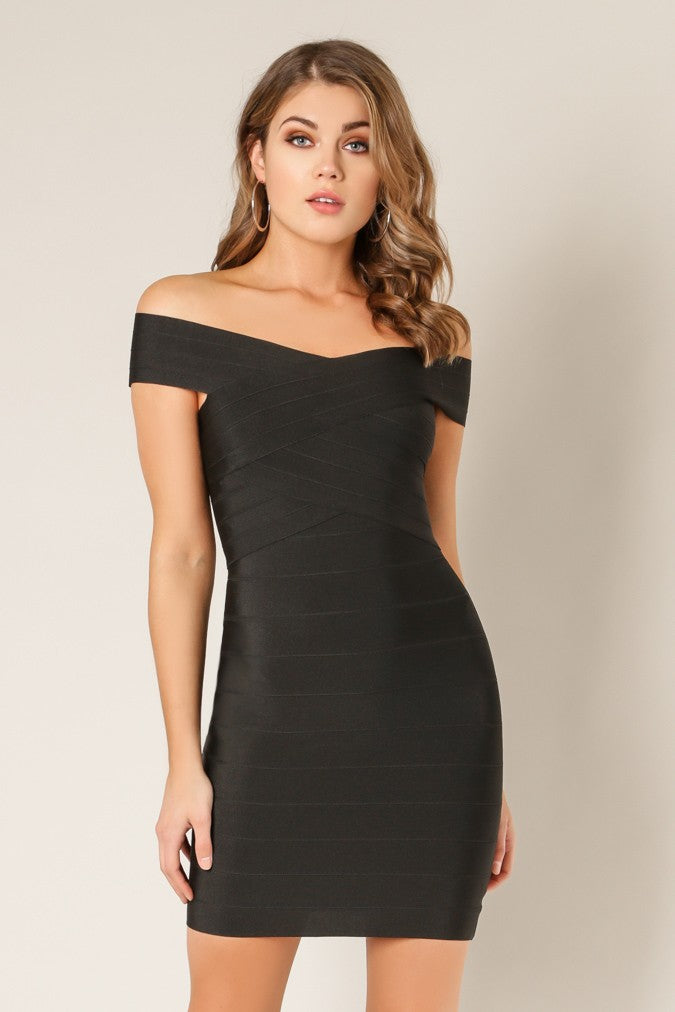 Front view black cross bust bodycon bandage dress